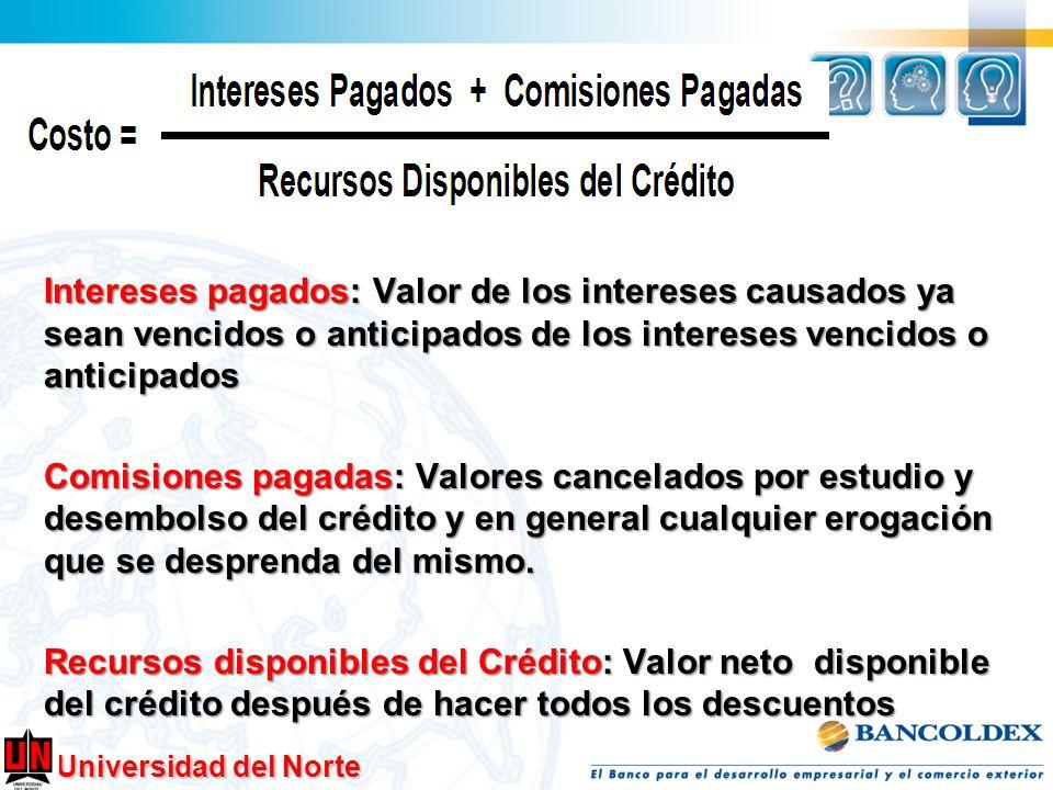 Intereses pagados: Valor de los intereses causados ya sean vencidos o anticipados de los intereses vencidos o anticipados