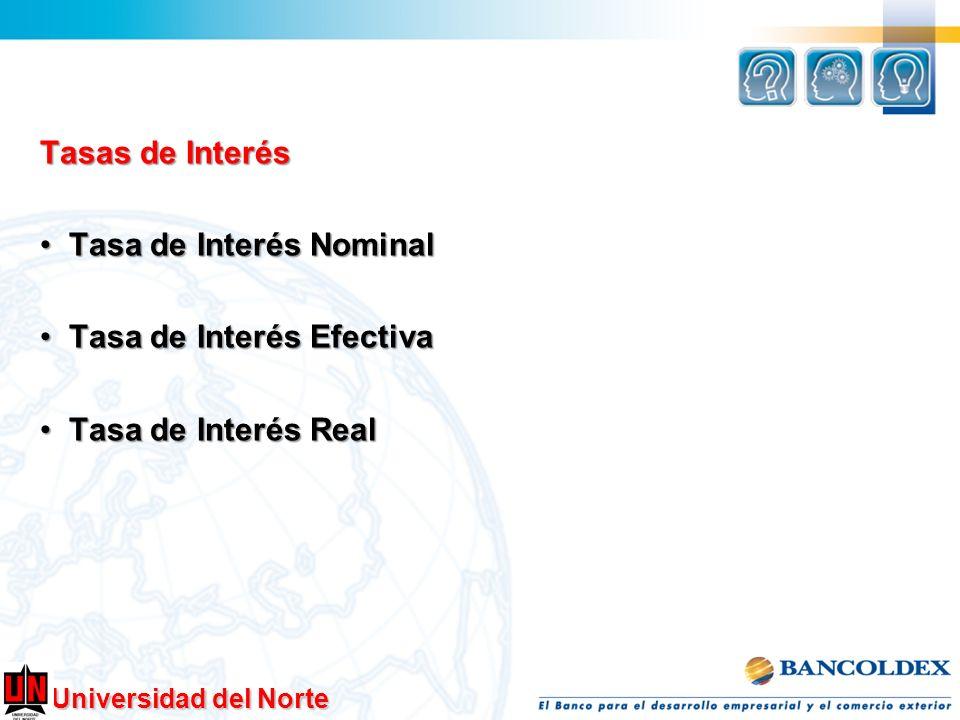 Tasas de Interés Tasa de Interés Nominal Tasa de Interés Efectiva Tasa de Interés Real