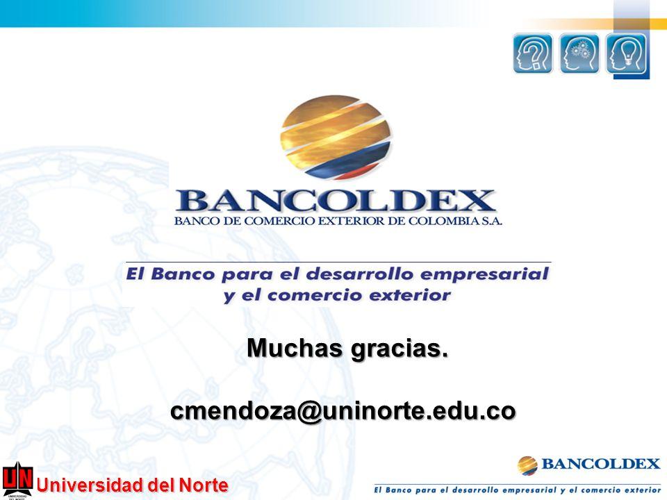 Muchas gracias. cmendoza@uninorte.edu.co