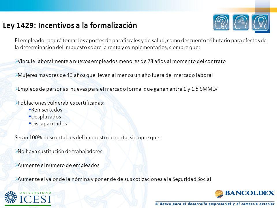 Ley 1429: Incentivos a la formalización