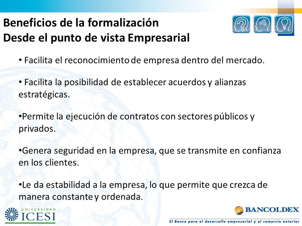 Beneficios de la formalización Desde el punto de vista Empresarial