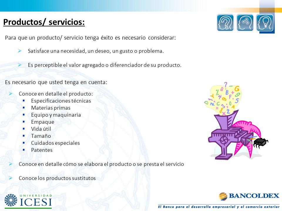 Productos/ servicios:
