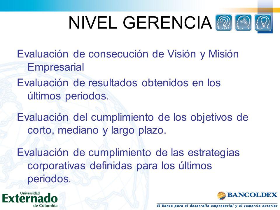 NIVEL GERENCIAEvaluación de consecución de Visión y Misión Empresarial. Evaluación de resultados obtenidos en los últimos periodos.