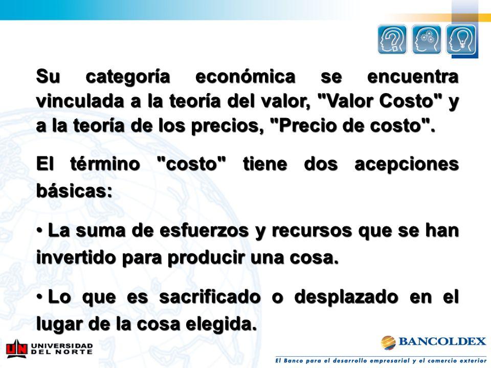 Su categoría económica se encuentra vinculada a la teoría del valor, Valor Costo y a la teoría de los precios, Precio de costo .