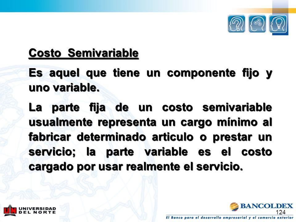 Costo Semivariable Es aquel que tiene un componente fijo y uno variable.