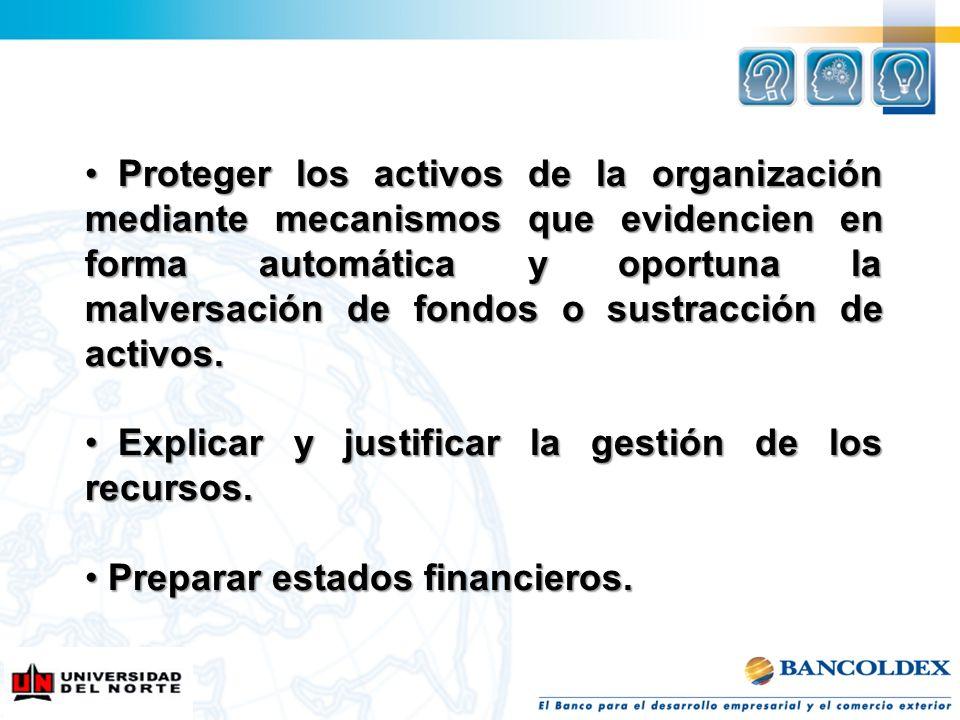 Proteger los activos de la organización mediante mecanismos que evidencien en forma automática y oportuna la malversación de fondos o sustracción de activos.