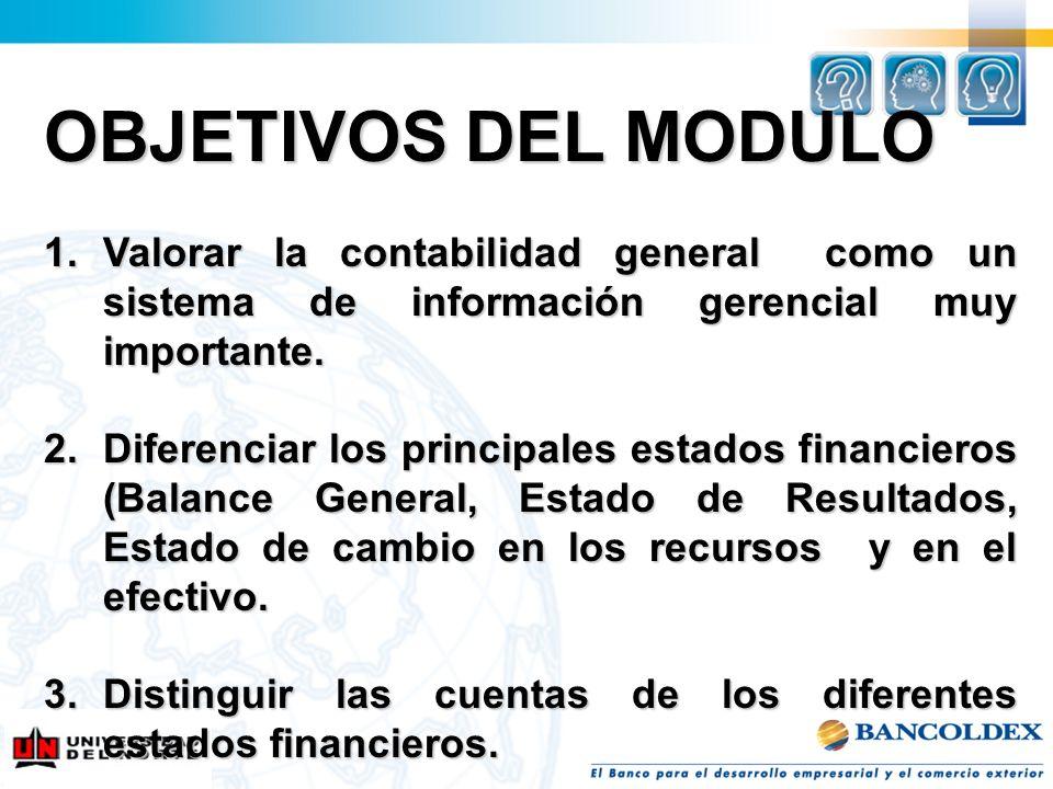 OBJETIVOS DEL MODULO Valorar la contabilidad general como un sistema de información gerencial muy importante.