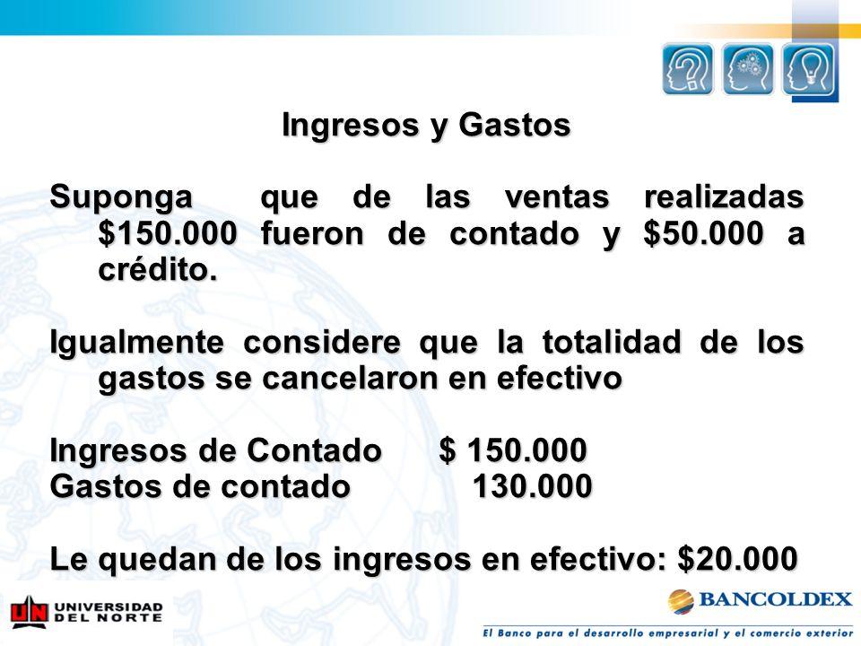 Ingresos y Gastos Suponga que de las ventas realizadas $150.000 fueron de contado y $50.000 a crédito.