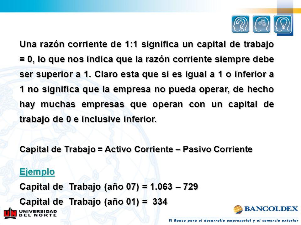 Capital de Trabajo (año 07) = 1.063 – 729