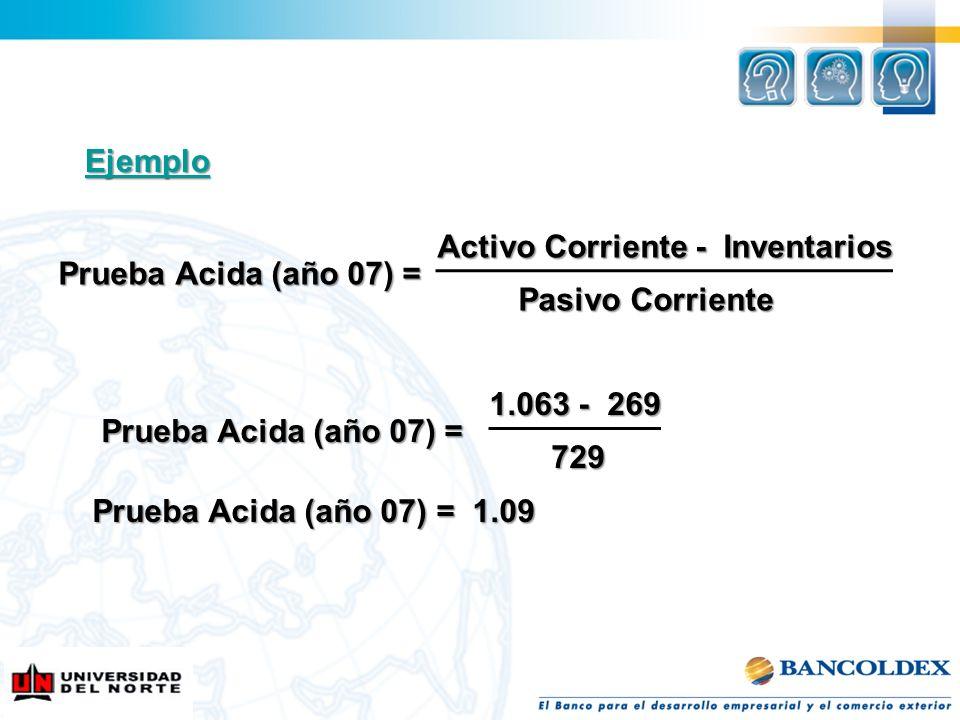 EjemploActivo Corriente - Inventarios. Prueba Acida (año 07) = Pasivo Corriente. 1.063 - 269. Prueba Acida (año 07) =