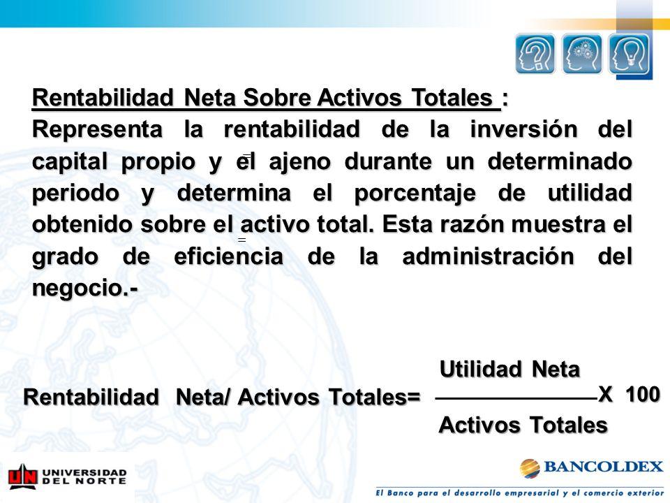 Rentabilidad Neta Sobre Activos Totales :