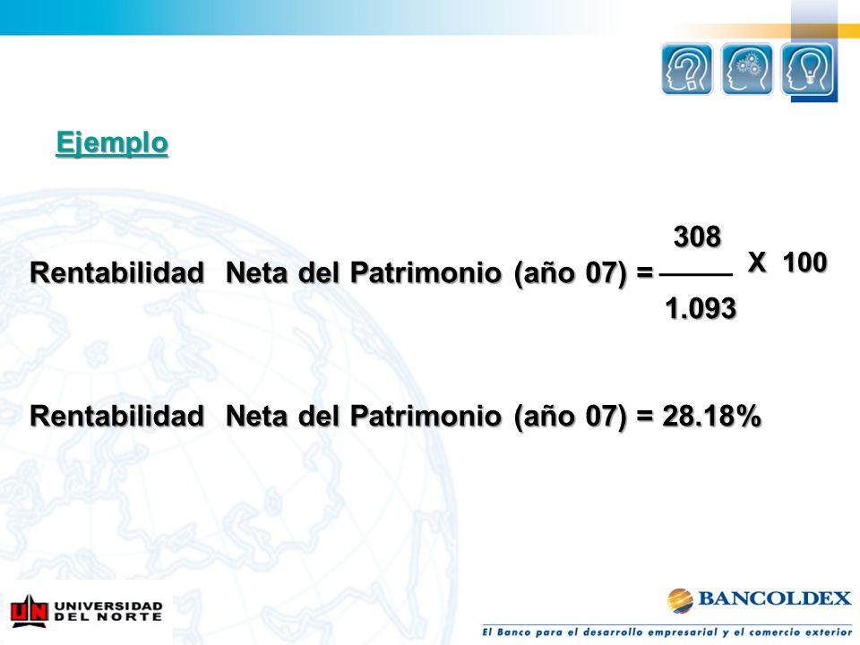 Rentabilidad Neta del Patrimonio (año 07) = 1.093