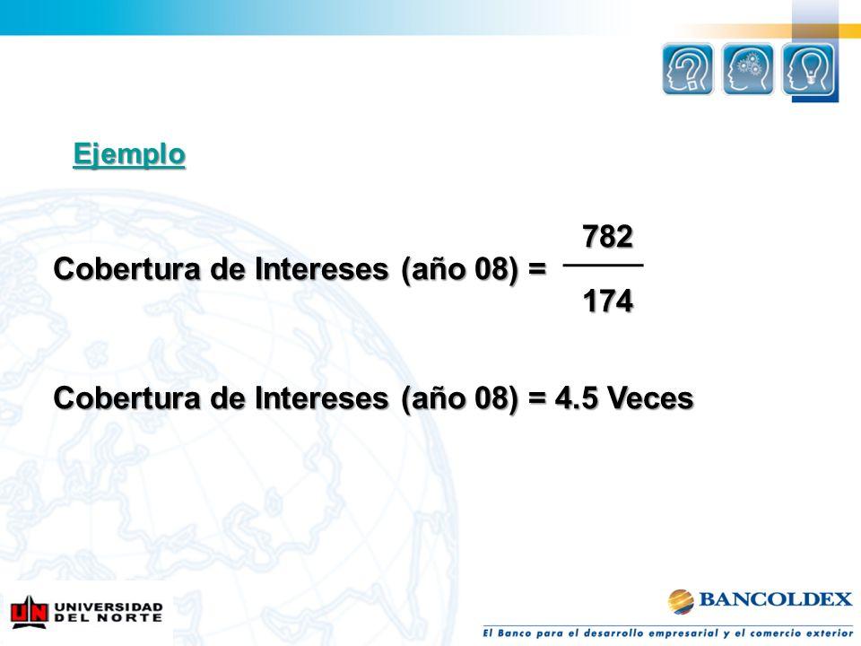 Cobertura de Intereses (año 08) = 174