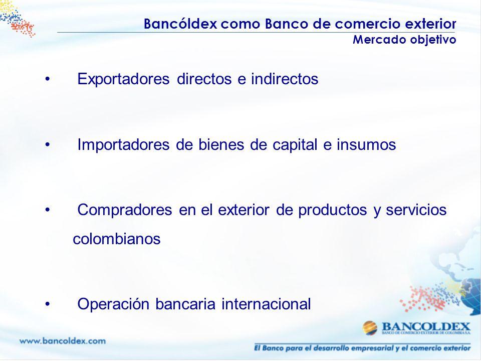 Bancóldex como Banco de comercio exterior Mercado objetivo