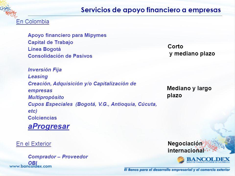 Servicios de apoyo financiero a empresas