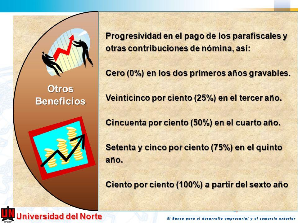 Progresividad en el pago de los parafiscales y otras contribuciones de nómina, así: