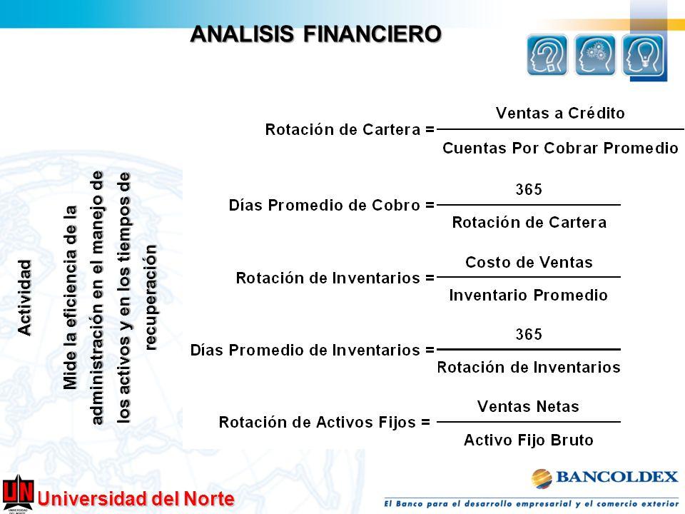 ANALISIS FINANCIERO Mide la eficiencia de la administración en el manejo de los activos y en los tiempos de recuperación.