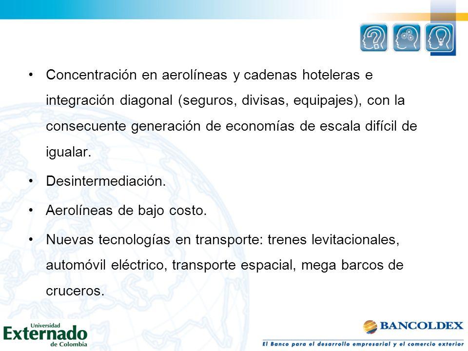 Concentración en aerolíneas y cadenas hoteleras e integración diagonal (seguros, divisas, equipajes), con la consecuente generación de economías de escala difícil de igualar.