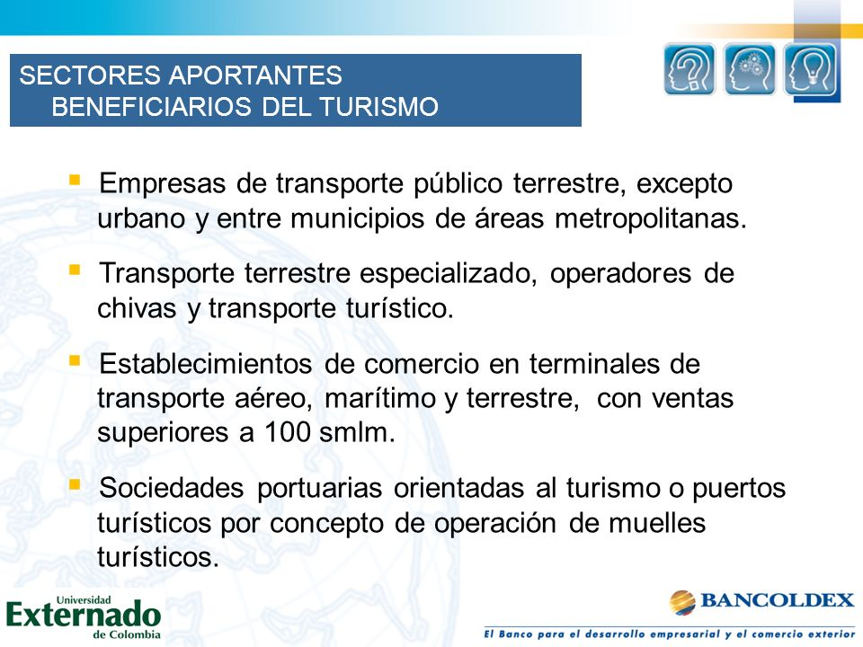SECTORES APORTANTES BENEFICIARIOS DEL TURISMO