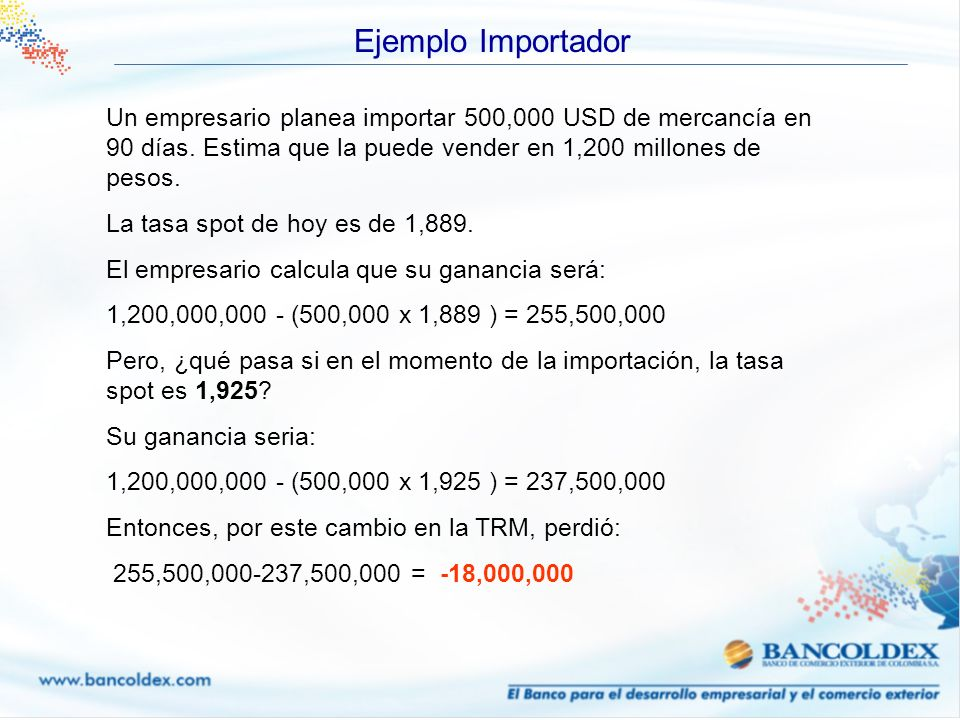 Ejemplo Importador Un empresario planea importar 500,000 USD de mercancía en 90 días. Estima que la puede vender en 1,200 millones de pesos.