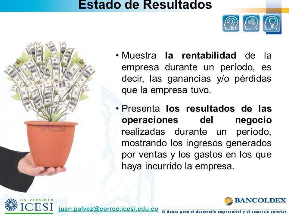 Estado de Resultados Muestra la rentabilidad de la empresa durante un período, es decir, las ganancias y/o pérdidas que la empresa tuvo.