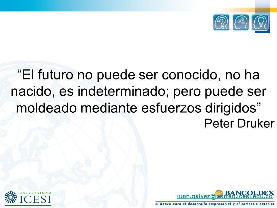El futuro no puede ser conocido, no ha nacido, es indeterminado; pero puede ser moldeado mediante esfuerzos dirigidos