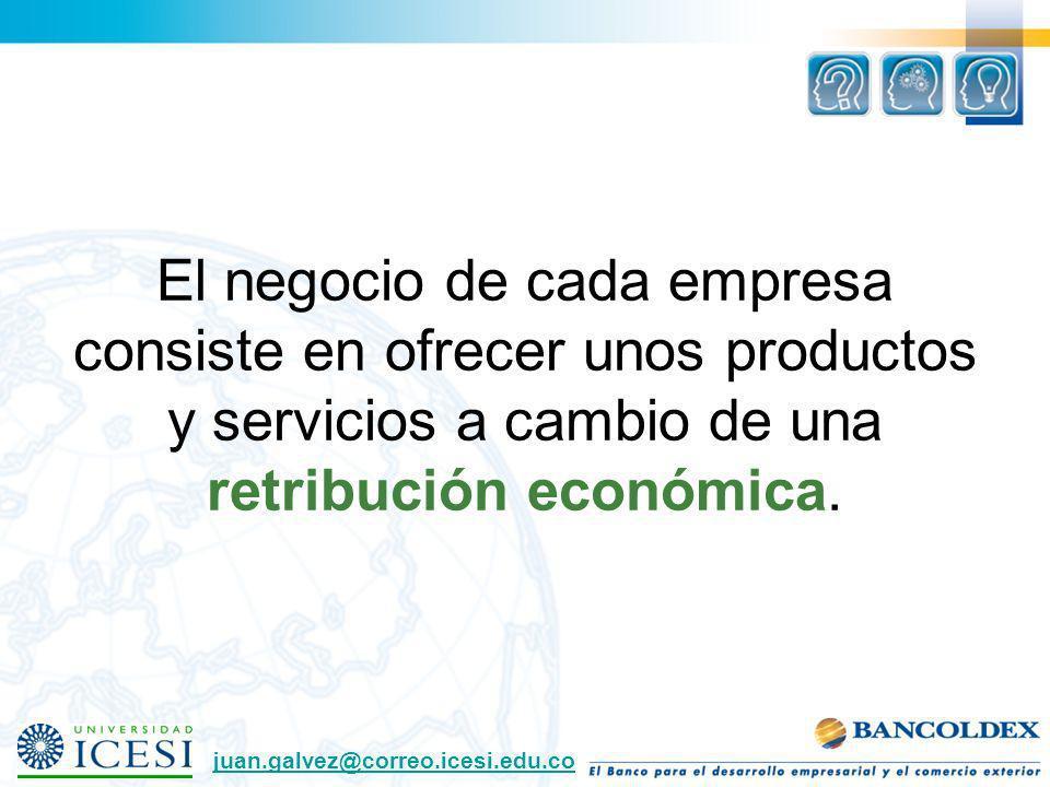El negocio de cada empresa consiste en ofrecer unos productos y servicios a cambio de una retribución económica.