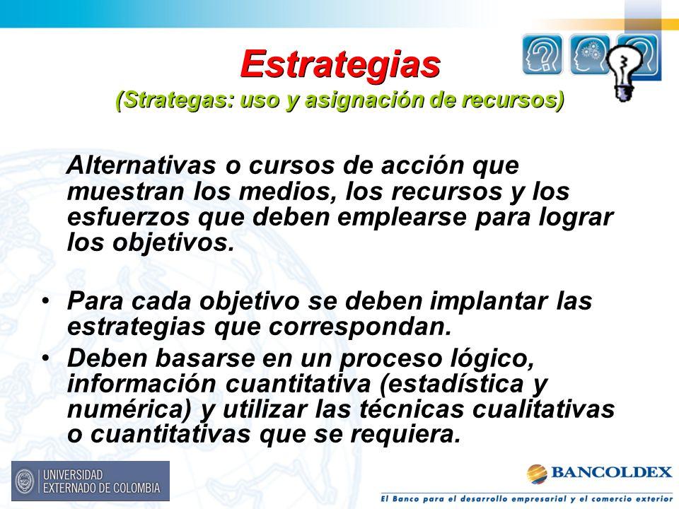 Estrategias (Strategas: uso y asignación de recursos)
