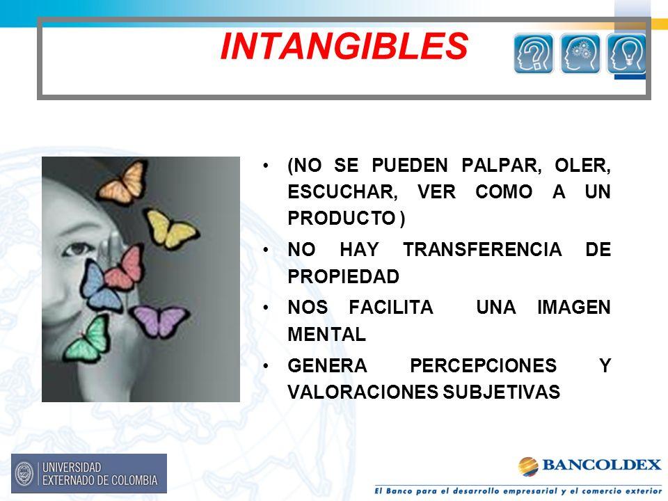 INTANGIBLES (NO SE PUEDEN PALPAR, OLER, ESCUCHAR, VER COMO A UN PRODUCTO ) NO HAY TRANSFERENCIA DE PROPIEDAD.