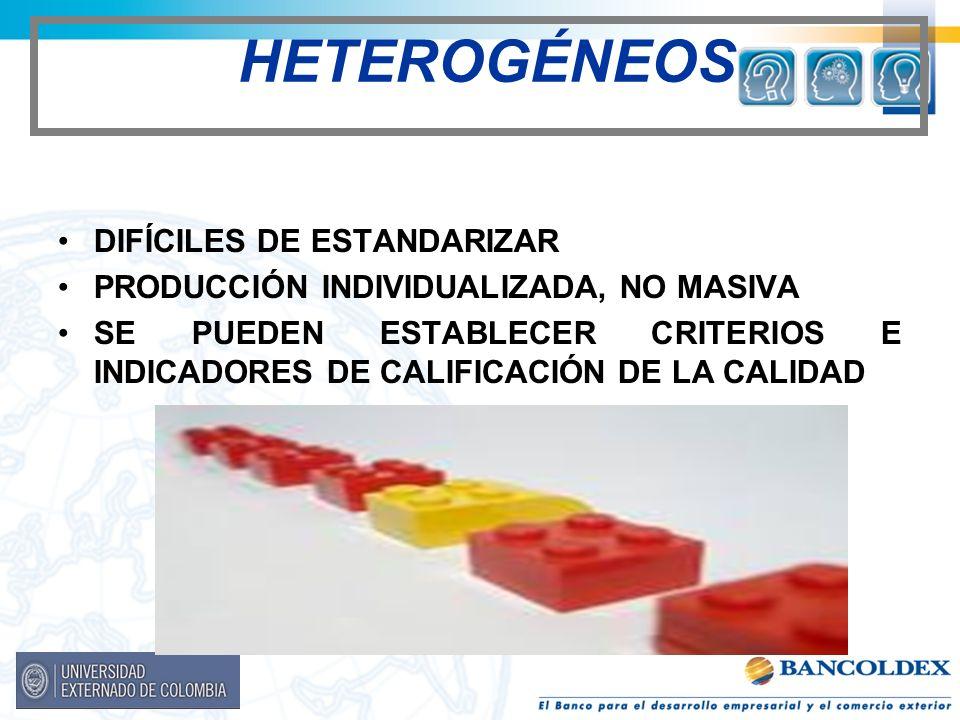 HETEROGÉNEOS DIFÍCILES DE ESTANDARIZAR