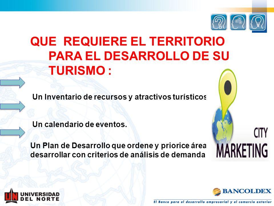 QUE REQUIERE EL TERRITORIO PARA EL DESARROLLO DE SU TURISMO :