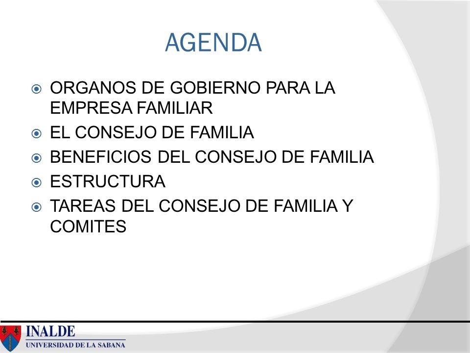 AGENDA ORGANOS DE GOBIERNO PARA LA EMPRESA FAMILIAR