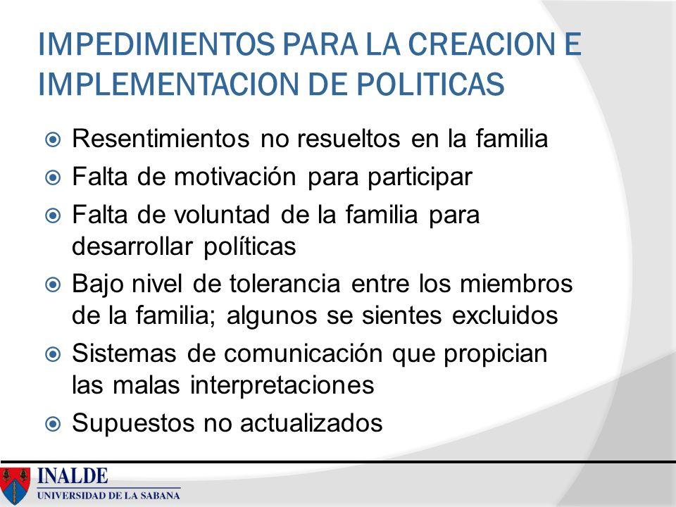 IMPEDIMIENTOS PARA LA CREACION E IMPLEMENTACION DE POLITICAS