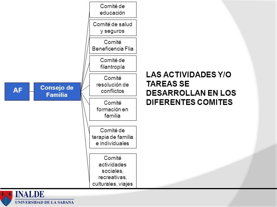 LAS ACTIVIDADES Y/O TAREAS SE DESARROLLAN EN LOS DIFERENTES COMITES