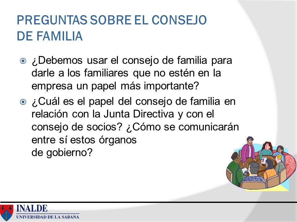 PREGUNTAS SOBRE EL CONSEJO DE FAMILIA
