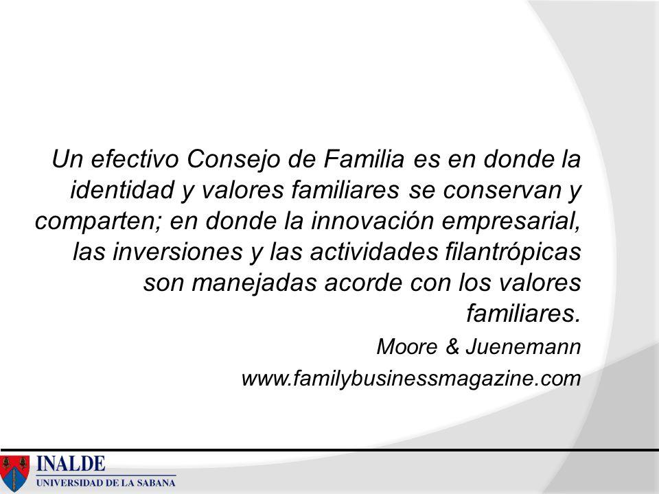 Un efectivo Consejo de Familia es en donde la identidad y valores familiares se conservan y comparten; en donde la innovación empresarial, las inversiones y las actividades filantrópicas son manejadas acorde con los valores familiares.