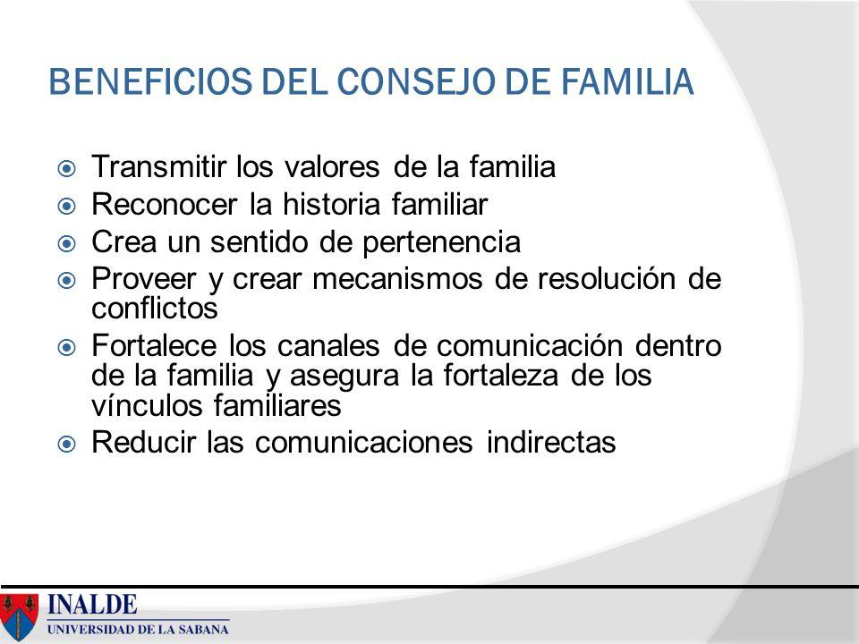 BENEFICIOS DEL CONSEJO DE FAMILIA