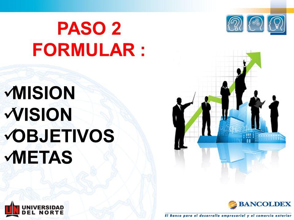 PASO 2 FORMULAR : MISION VISION OBJETIVOS METAS
