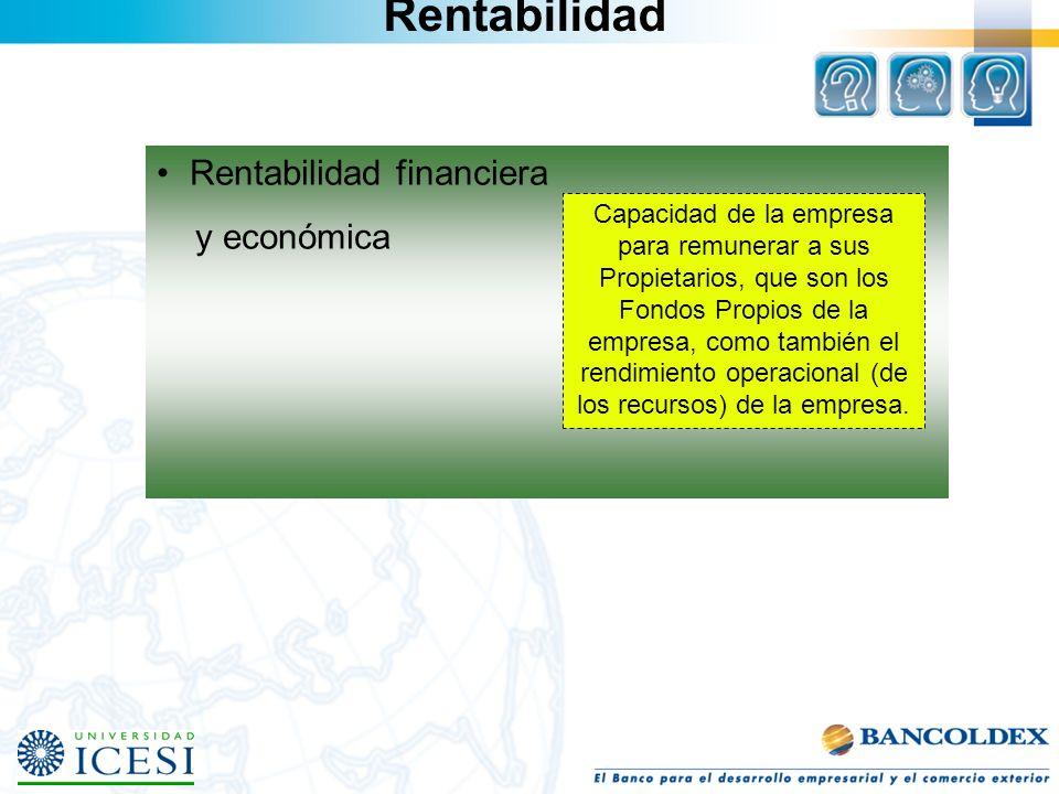 Rentabilidad Rentabilidad financiera y económica