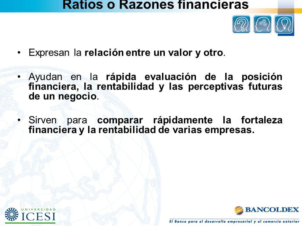 Ratios o Razones financieras