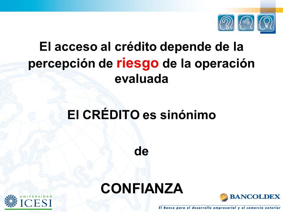 El acceso al crédito depende de la percepción de riesgo de la operación evaluada
