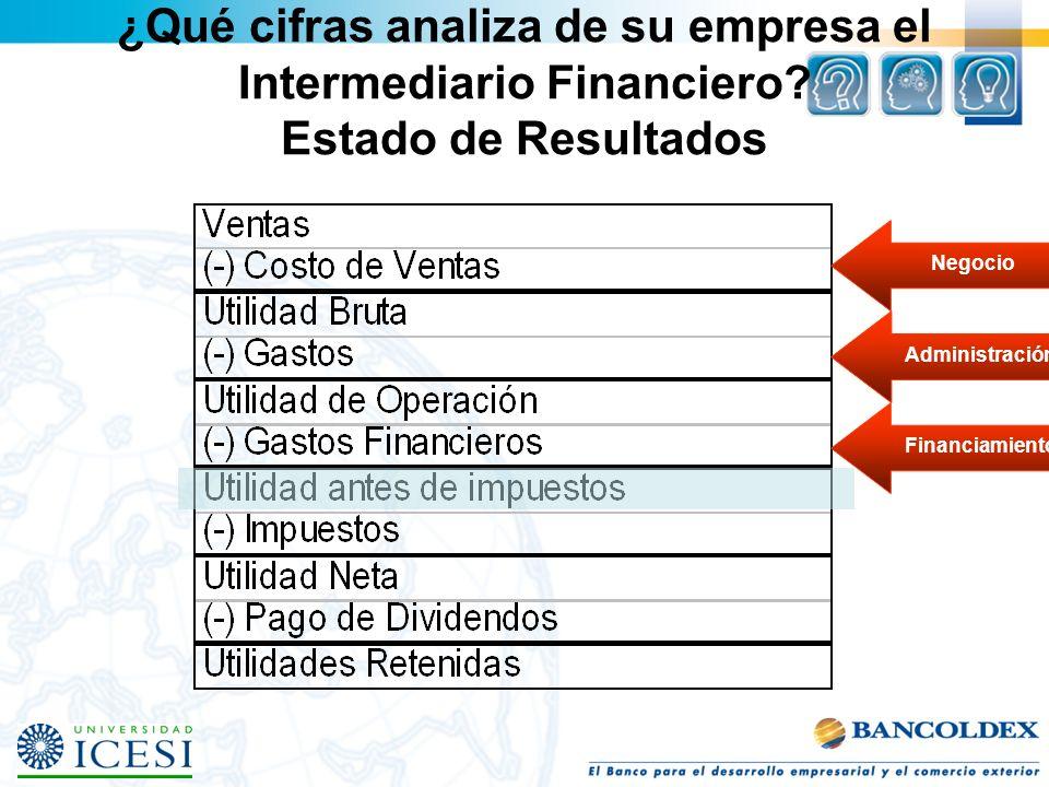 ¿Qué cifras analiza de su empresa el Intermediario Financiero
