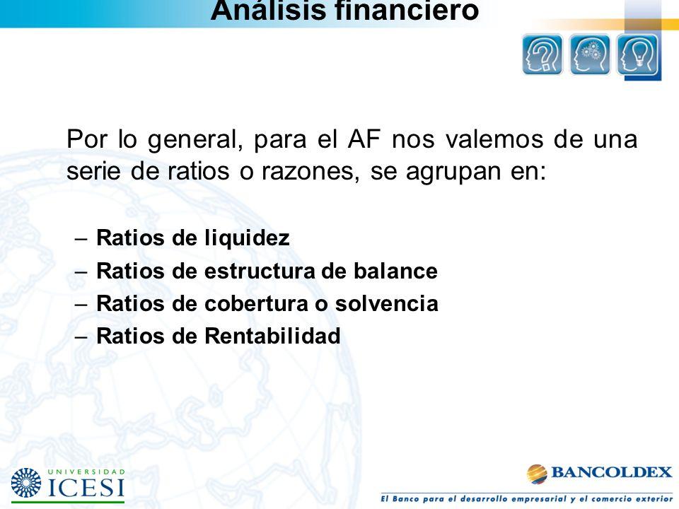 Análisis financiero Por lo general, para el AF nos valemos de una serie de ratios o razones, se agrupan en: