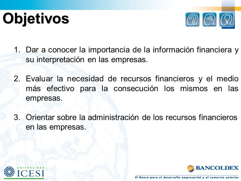Objetivos Dar a conocer la importancia de la información financiera y su interpretación en las empresas.