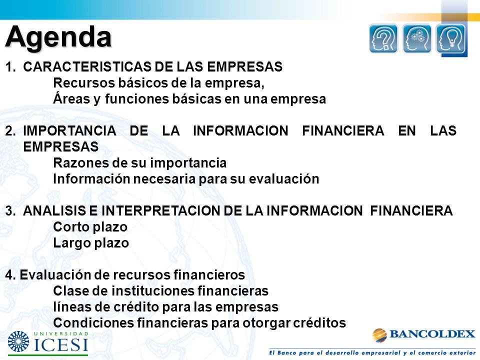 Agenda CARACTERISTICAS DE LAS EMPRESAS Recursos básicos de la empresa,