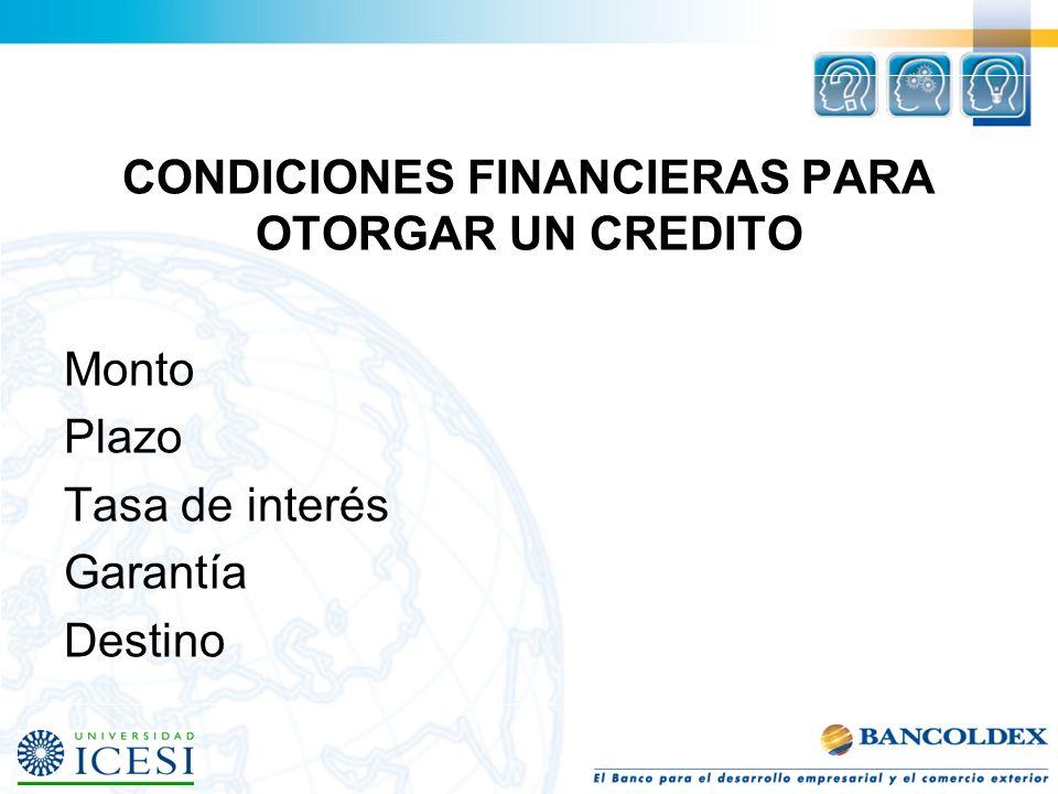 CONDICIONES FINANCIERAS PARA OTORGAR UN CREDITO