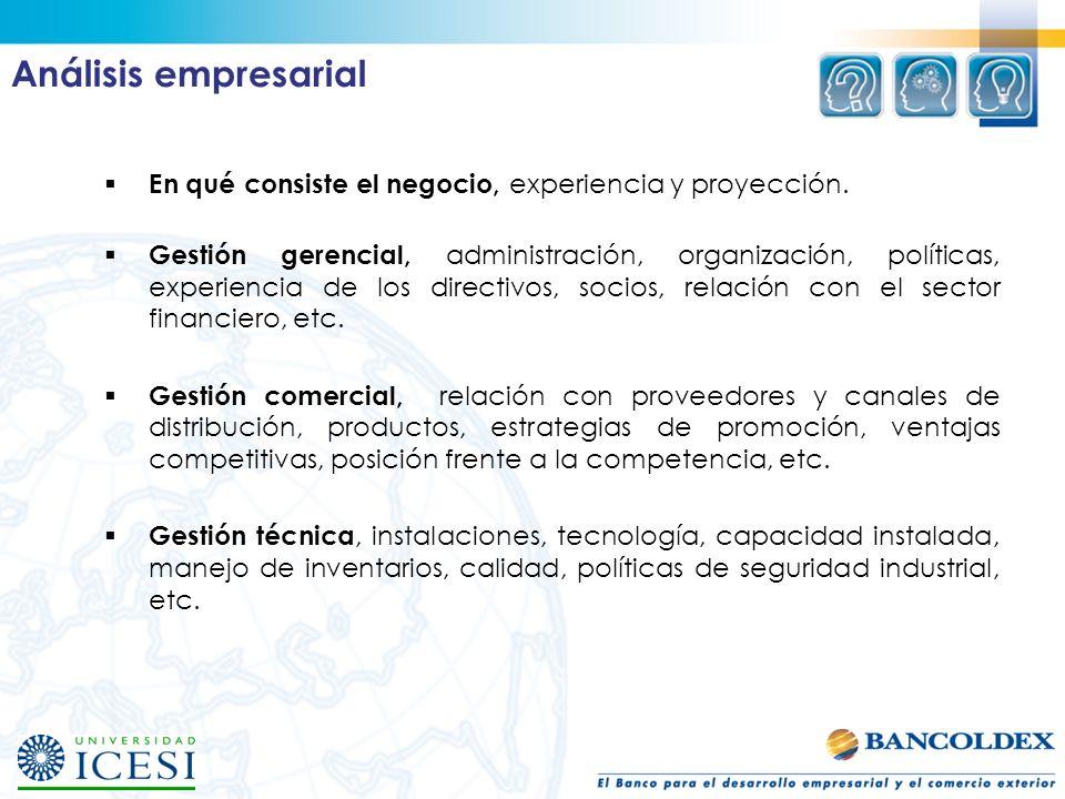 Análisis empresarialEn qué consiste el negocio, experiencia y proyección.