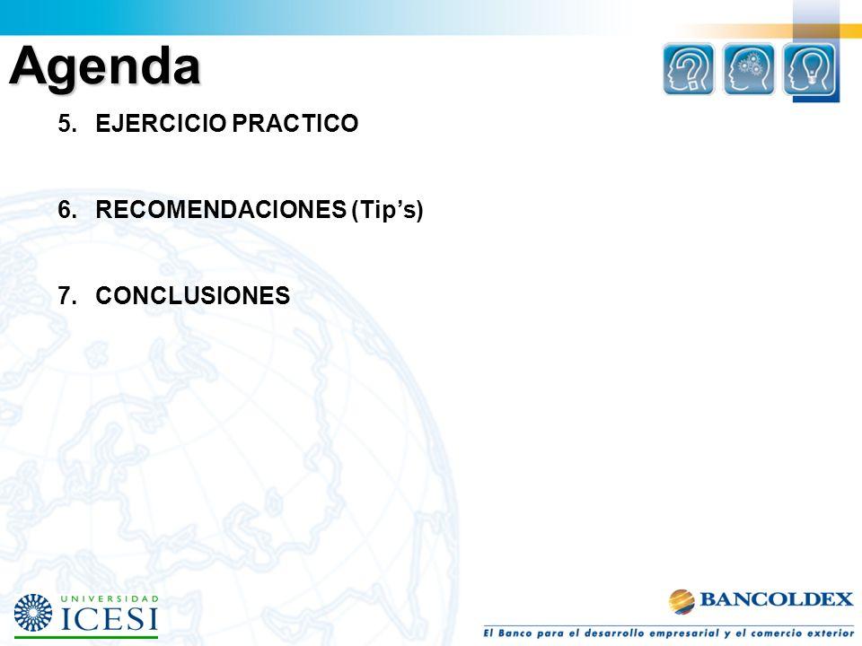 Agenda 5. EJERCICIO PRACTICO 6. RECOMENDACIONES (Tip's)