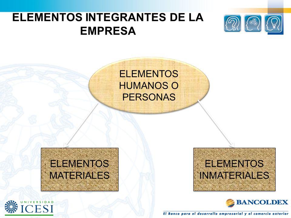 ELEMENTOS INTEGRANTES DE LA EMPRESA