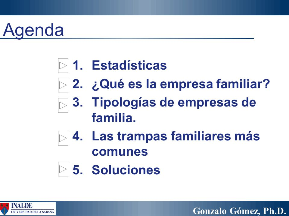 Agenda Estadísticas ¿Qué es la empresa familiar